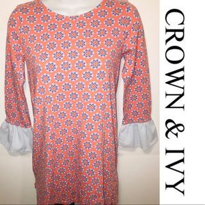 Crown & Ivy 3/4 Ruffle Bell Sleeve Tunic